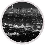 Los Angeles Skyline At Night Monochrome Round Beach Towel by Bob Christopher