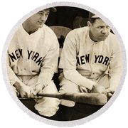 Lou Gehrig And Babe Ruth Round Beach Towel by Bill Cannon