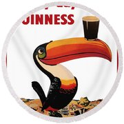 Lovely Day For A Guinness Round Beach Towel by Georgia Fowler