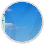 Low Angle View Of A Statue, Statue Round Beach Towel by Panoramic Images