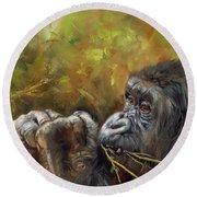 Lowland Gorilla 2 Round Beach Towel by David Stribbling