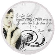 Lucky Round Beach Towel by Mo T