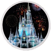 Magic Kingdom Castle In Frosty Light Blue With Fireworks 06 Round Beach Towel by Thomas Woolworth