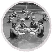 Mah-jong In The Pool Round Beach Towel by Underwood Archives