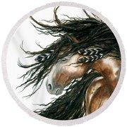 Majestic Pinto Horse 80 Round Beach Towel by AmyLyn Bihrle