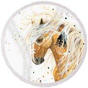 Majestic Palomino Horse 84 Round Beach Towel by AmyLyn Bihrle
