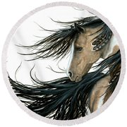 Majestic Horse Series 89 Round Beach Towel by AmyLyn Bihrle