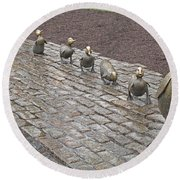 Make Way For Ducklings Round Beach Towel by Barbara McDevitt