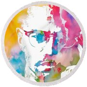 Malcolm X Watercolor Round Beach Towel by Dan Sproul