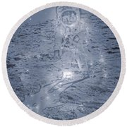 Man On The Moon Round Beach Towel by Dan Sproul