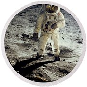 Man On The Moon Round Beach Towel by Neil Armstrong/Underwood Archive