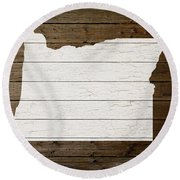 Map Of Oregon State Outline White Distressed Paint On Reclaimed Wood Planks Round Beach Towel by Design Turnpike