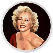 Marilyn Monroe 3 Round Beach Towel by Paul Meijering