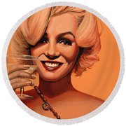 Marilyn Monroe 5 Round Beach Towel by Paul Meijering