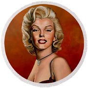 Marilyn Monroe 6 Round Beach Towel by Paul Meijering