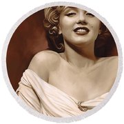 Marilyn Monroe Artwork 2 Round Beach Towel by Sheraz A