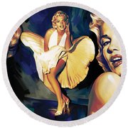Marilyn Monroe Artwork 3 Round Beach Towel by Sheraz A