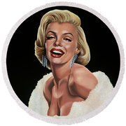 Marilyn Monroe Round Beach Towel by Paul Meijering