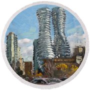 Marilyn Monroe Towers In Mississauga Round Beach Towel by Ylli Haruni