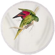 Matons Parakeet Round Beach Towel by Edward Lear