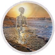 Meditative Morning Round Beach Towel by Betsy Knapp