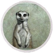 Meerkat Round Beach Towel by James W Johnson
