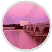 Memorial Bridge, Washington Dc Round Beach Towel by Panoramic Images