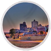 Cityscape - Skyline - Memphis At Dawn Round Beach Towel by Barry Jones