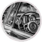 Mercedes-benz 250 Se Steering Wheel Emblem Round Beach Towel by Jill Reger