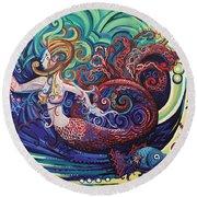 Mermaid Gargoyle Round Beach Towel by Genevieve Esson