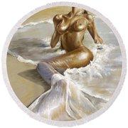 Mermaid Round Beach Towel by Karina Llergo