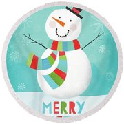 Merry Snowman IIi Round Beach Towel by Lamai Mccartan