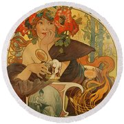 Meuse Beer Round Beach Towel by Alphonse Marie Mucha