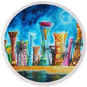 Miami City South Beach Original Painting Tropical Cityscape Art Miami Night Life By Madart Absolut X Round Beach Towel by Megan Duncanson