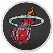 Miami Heat Basketball Team Retro Logo Vintage Recycled Florida License Plate Art Round Beach Towel by Design Turnpike
