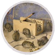 Mice And Huntley Palmers Superior Biscuits Round Beach Towel by Agnes Louise Holding