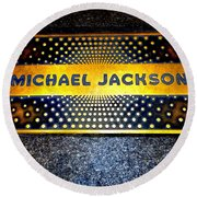 Michael Jackson Apollo Walk Of Fame Round Beach Towel by Ed Weidman