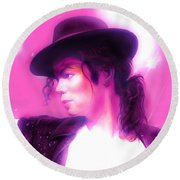 Michael Jackson King Of Pop Round Beach Towel by Gina Dsgn