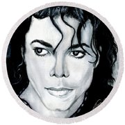 Michael Jackson Portrait Round Beach Towel by Alban Dizdari