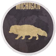 Michigan State Facts Minimalist Movie Poster Art  Round Beach Towel by Design Turnpike