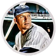 Mickey Mantle Round Beach Towel by Florian Rodarte