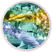 Mickey Mantle Round Beach Towel by Marvin Blaine