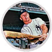 Mickey Mantle Painting Round Beach Towel by Florian Rodarte