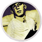 Mickey Mantle Poster Art Round Beach Towel by Florian Rodarte