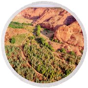 Miles To Go In Canyon De Chelly Round Beach Towel by Bob and Nadine Johnston