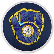 Milwaukee Brewers Vintage Baseball Team Logo Recycled Wisconsin License Plate Art Round Beach Towel by Design Turnpike