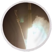 Minotaur Rocket Launch Round Beach Towel by Science Source