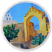 Round Beach Towel featuring the painting Mission San Xavier by Rodney Campbell