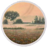 Misty Morning Round Beach Towel by James W Johnson