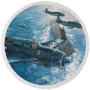 Mitscher's Hunt For The Rising Sun Round Beach Towel by Randy Green